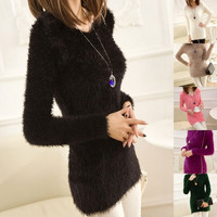 Women Long Sleeve Loose Knitted Jumper Round Neck Sweater Knitwear Tops Pullover F_F = 1902094596