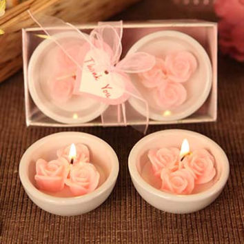 Pretty Pink Roses Rose Shaped Candles with Ceramic Dish Holders