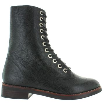 Jeffrey Campbell Crusade - Black Pebbled Leather Lace-Up Combat Boot