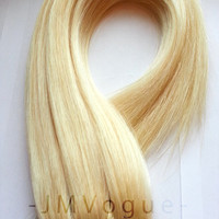 Full Head 613 Light Blonde 8 Piece 100% Human Hair Remy Clip Extensions Boho Chic Alternative Model Hair