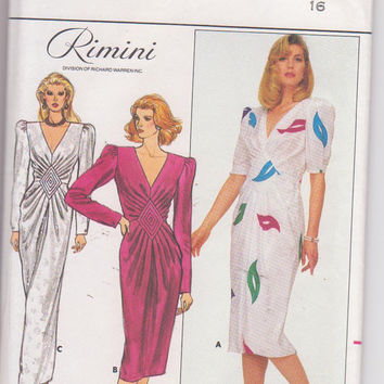 Vintage 1980s pattern for Rimini special occasion dress with V neckline and quilted front inset misses size 16 Butterick 3794 UNCUT