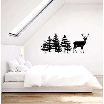 Vinyl Wall Decal Trees Deer Nature Decor Hunting Art Living Room Home Stickers Mural (ig5524)