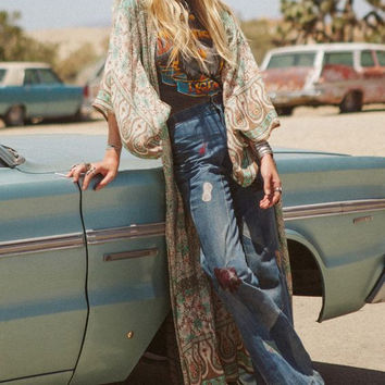 "Boho Maxi Kimono Turquoise Tan Floral ""Blossom"" One Size Full Length Summer Night Wrap Thin Breezy Bohemian Chic"