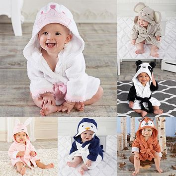 2018 Newborn Boy Girl Animal Bathrobe Baby Hooded Bath Robe Towel Infant Bathing Honey Cosplay Cute Baby Clothing SS
