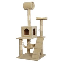 "New 55"" Cat Tree Tower Condo Scratcher Furniture Kitten House Hammock"