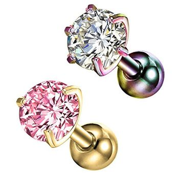 BodyJ4You 2PC Tragus Piercing CZ Round Stud Earring Set 16G Surgical Steel Helix Ear Barbell