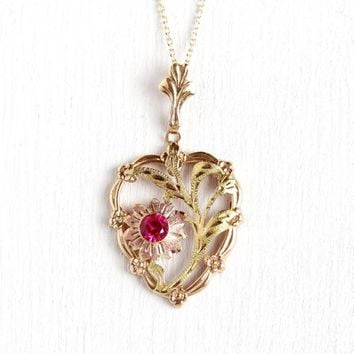 1950s Flower Necklace - Vintage 10k Rosy Yellow Gold Pink Red Cr c3d323081c