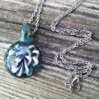 Blown Glass Pendant, Abstract Flower Floral Pendant, Blown Glass Jewelry, Handmade In Wisconsin Jewelry, Hippie Necklace, Boho Necklace