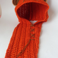 Ewok Style Crocheted Baby Hat or Hood From Star Wars For Girl Newborn to Adult Photo Prop Baby Hat With Big Flower Halloween / Cosplay