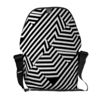 Trendy Black and White Geometric Stripes Pattern Messenger Bags