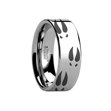 Animal Design Ring - Deer Print - Deer Track -  Laser Engraved - Flat Tungsten Ring - 4mm - 6mm - 8mm - 10mm - 12mm