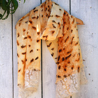 Animal Print Lace Tipped Scarf - Upcycle - OOAK - Free Shipping