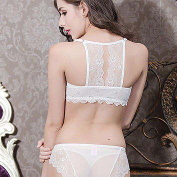 Leona Lace Back Demi Bra Set (White)