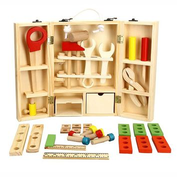 Baby Toys Kids Wooden Multifunctional Tool Set Maintenance Box Wooden Toy Baby Nut