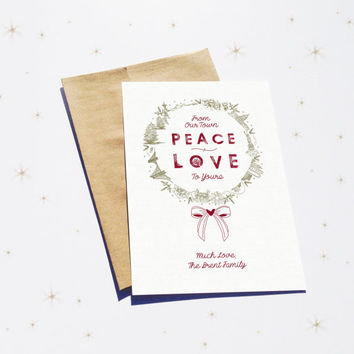 Printable Christmas Card - Peace + Love American Landmarks - Personalize - Hand Drawn - Wreath - Bow - Red & Green