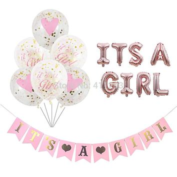 its a girl balloon its a boy balloon boy girl shower banners flags pink blue confetti baby shower balloons party decorations