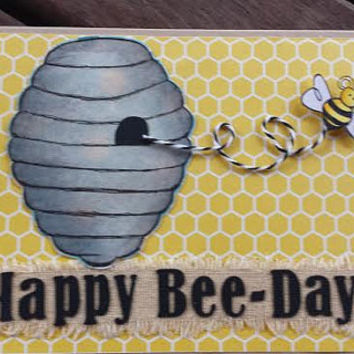 Handmade birthday card happy bee-day bumble bee theme