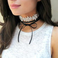 Choker Necklace, Layer Necklace, Rhinestone Choker, Leather Choker, Sparkly Necklace, Bow Necklace, Sparkly Choker, Choker, Ready To Ship
