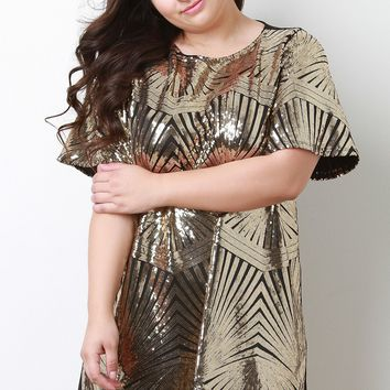 Sequin Patterned Short Sleeve Shift Dress
