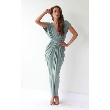 Mint Pistachio Maxi Bridesmaid Dress