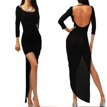 Black Long Sleeve Backless Asymmetric Bodycon Maxi Dress