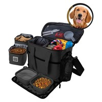 Overland Dog Gear™ Travel Bag - Week Away Bag for Medium & Large Dogs with 2 Food Carriers, Placemat & 2 Bowls