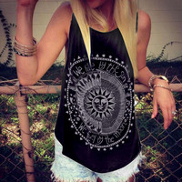 Women Tank Tops Summer 2018 We Live By The Sun Printed Punk Rock Graphic Tees Sleeveless Causal Tops