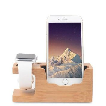 apple watch bamboo wood charging stand iphone charging bracket docking station stock cradle holder support apple iphone charger station nightstand mode with iphone se 5 5s 6s 6 plus 6 bamboo wood 2