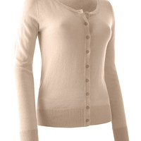 Womens Plus Size Lightweight Round Neck Fine Knit Cardigan Sweater with Stretch