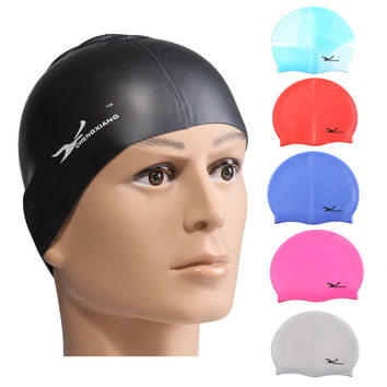 Free Size Elastic Silicone Waterproof Women Swimming Cap for Swimming Sports surf hat Protect Ears Long Hair Pool Shower cap