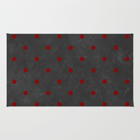 Dark Grey Grunge and Red Polka Dots Rug by Kat Mun