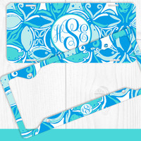 Aqua Shapes Monogram License Plate Frame Holder Metal Wall Sign Tags Personalized Custom Vanity