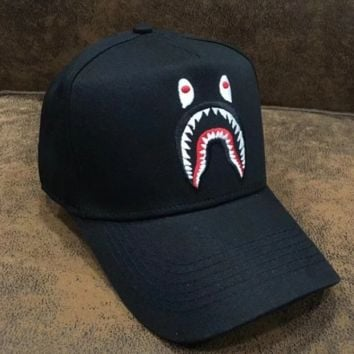 Bape Aape Fashion New Embroidery Shark Women Men Sun Protection Hat Baseball Cap Black