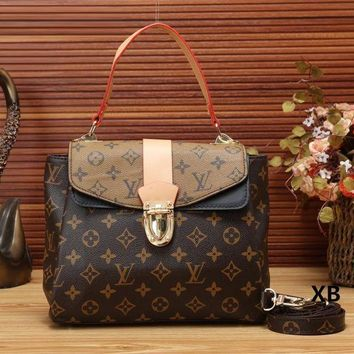 LV Louis Vuitton Women Print Leather Shoulder Bag Crossbody Satchel Handbag I