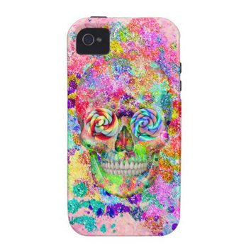 Girly Sugar Skull Pink Glitter Fine Art Paint Vibe iPhone 4 Case from Zazzle.com