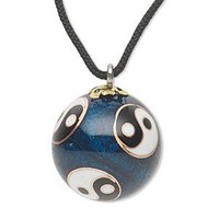 Yin Yang Cloisonné Chiming Charm Necklace
