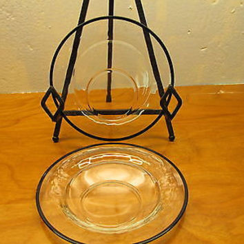SET OF TWO VINTAGE CLEAR GLASS WITH BLACK RINGS PUNCH CUP HOLDER PLATES