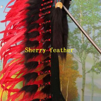 28inch red Indian Feather headdress chief indian war bonnet halloween american costumes