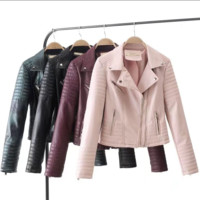 Hot style hot sales large lapel slim quilted leather jacket