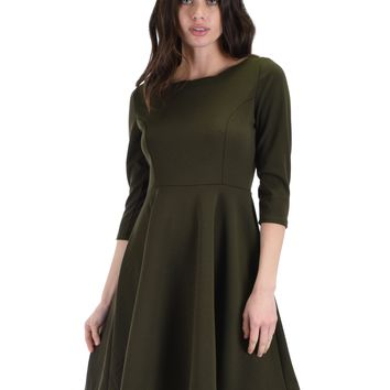 Lyss Loo So Good Olive Scallop Neck Line Skater Dress