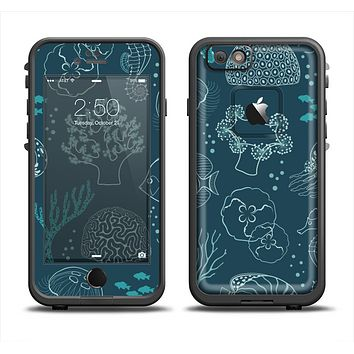 The Dark Teal Sea Creature Icons Apple iPhone 6 LifeProof Fre Case Skin Set