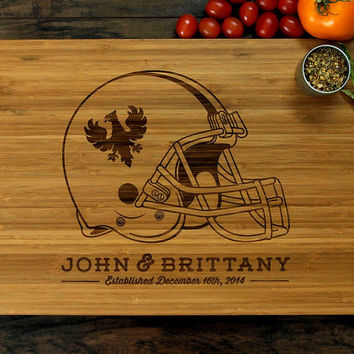 Personalized Sports Gift, Custom Cutting Board, Anniversary Gift, Football Helmet With Your Favorite Teams Logo, Father, Husband, Man Cave