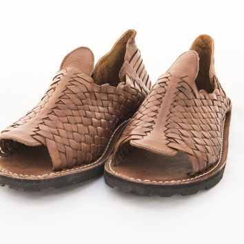 Mexican Huarache Sandals - Men's Thick Weave Style Brown