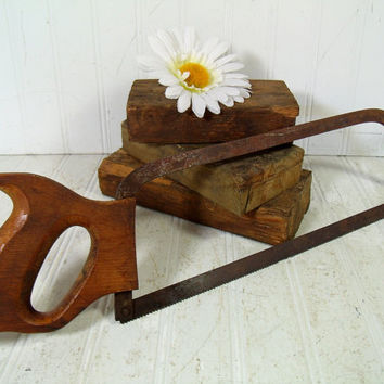 Rusty Crusty Old Hand Saw for Decor - Antique Wooden Handle Miter Saw - Collectible Vintage Single Blade Metal Hand Saw - Rustic Cabin Tool