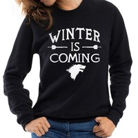 Fashion Games of Thrones sweatshirt Women Winter is Coming fashion fleece hoodies 2017 Femme harajuku pullovers brand tracksuits