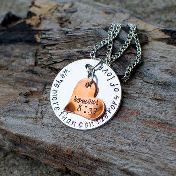 were more than conquerors of love romans 8 37 necklace