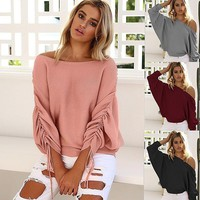 Knit Tops Winter Strapless Sweater [22466789402]