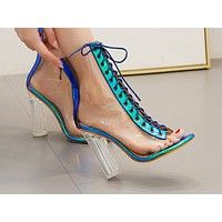 New transparent sandals, cross-laced women's shoes