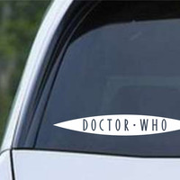 Doctor Who Logo Slit Die Cut Vinyl Decal Sticker SET OF TWO