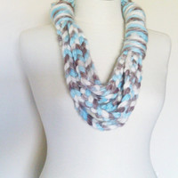 chain scarf in blue,white, gray  , infinity scarf, skinny chain scarf, Knit necklace, fall fashion, winter scarf, autumn